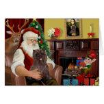 Santa's Brindle Cairn Terrier Greeting Card