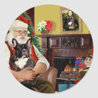 Santa's Brindle French Bulldog Sticker