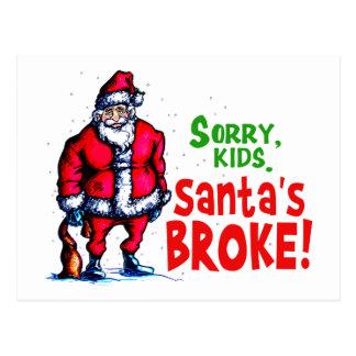 Santa's Broke Postcard