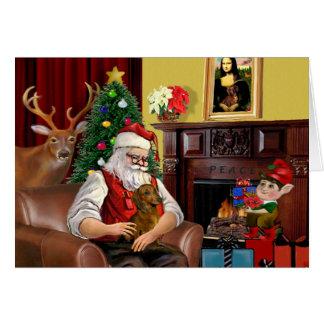 Santa's Brown/Red Dachshund Greeting Card