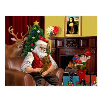 Santa's Brown/Red Dachshund Postcard