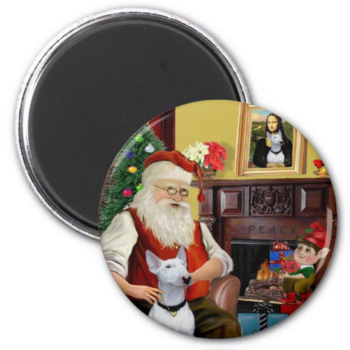 Santa's Bull Terrier (white) 2 Inch Round Magnet