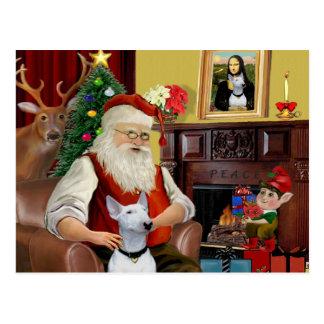 Santa's Bull Terrier (white) Postcard