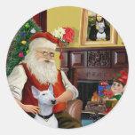 Santa's Bull Terrier (white) Sticker