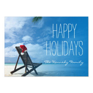 Santa's Chaise Lounge On Beach Card