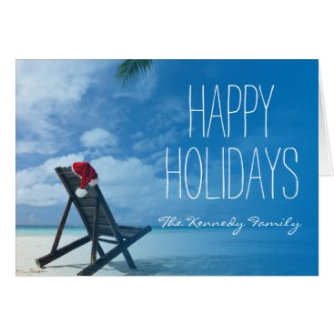 Beach Themed Santa's Chaise Lounge On Beach Card