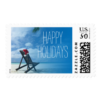 Santa's Chaise Lounge On Beach Postage