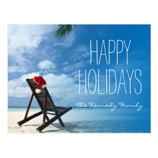 Santa's Chaise Lounge On Beach Postcard