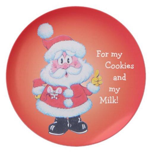 Santas Christmas Cookie and Milk Plate