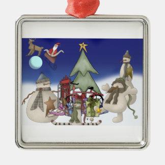 Santas Christmas Drop Metal Ornament