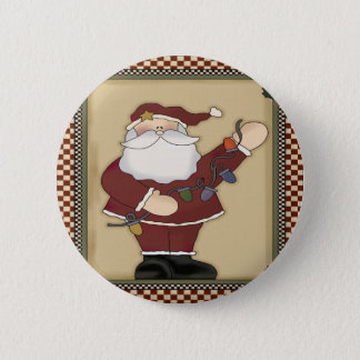 Santas Christmas Light Bulbs Round Button