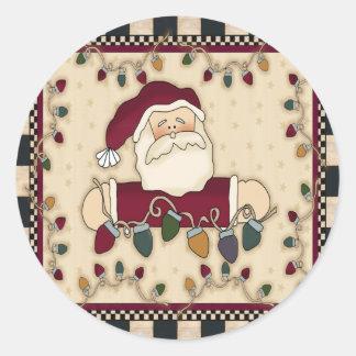 Santas Christmas Light Bulbs Round Stickers