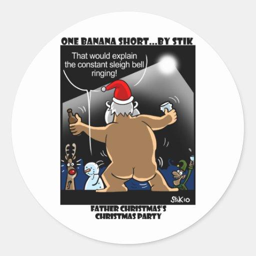 Santa's Christmas Party! Classic Round Sticker