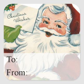 Santa's Christmas Wishes Vintage Gift Tag Square Sticker