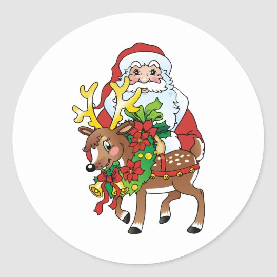 Santas Classic Round Sticker
