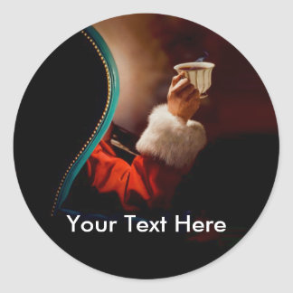 Santa's Coffee Break Classic Round Sticker