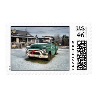 Santa's Coming in a Pick-up Truck Postage Stamp