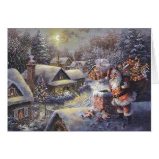 Santa's Coming Snowy Village Christmas Card