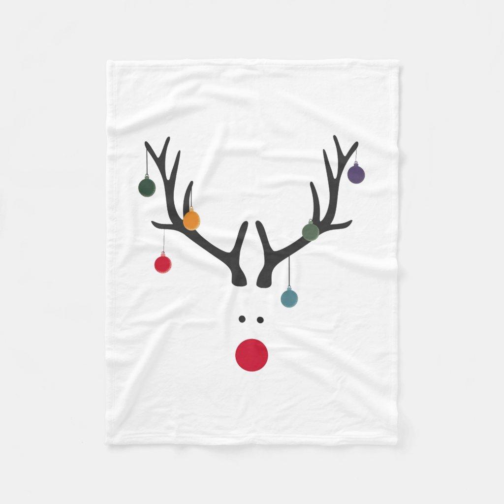 Santa's cute reindeer Rudolph's head on white Fleece Blanket