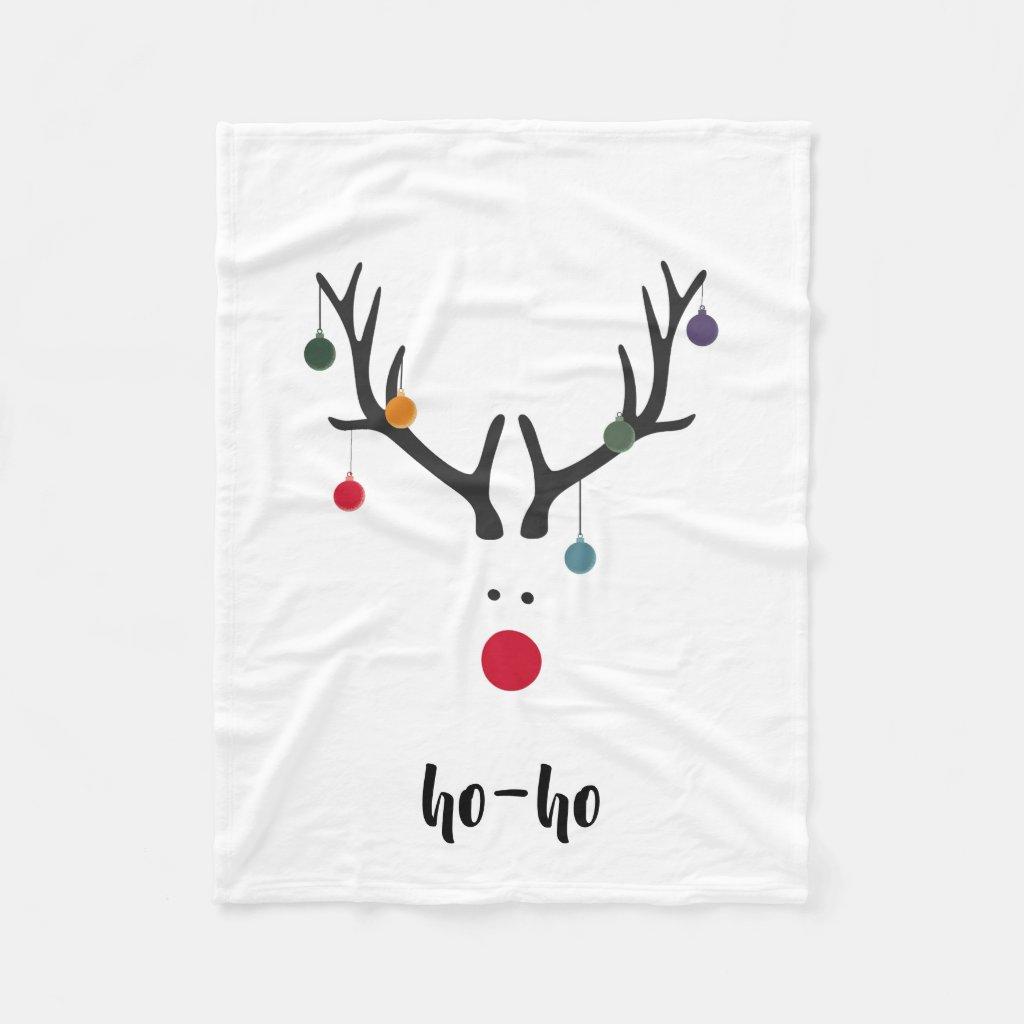 Santa's cute reindeer Rudolph's head on white text Fleece Blanket