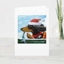 Santa's Dachshund Holiday Card