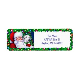 Santa's Dalmatian at Christmas Labels