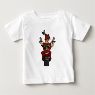 Santa's deer riding a bike baby T-Shirt