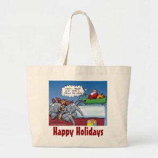 Santas Elephants Funny Holiday Cartoon Large Tote Bag