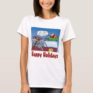 Santas Elephants Funny Holiday Cartoon T-Shirt