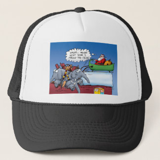 Santas Elephants Holiday Cartoon Trucker Hat