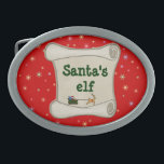 "Santa&#39;s elf belt buckle<br><div class=""desc"">This belt buckle is a must for any Santa&#39;s elf to customize.</div>"