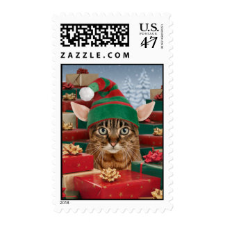 Santa's Elf-Cat Christmas Postage