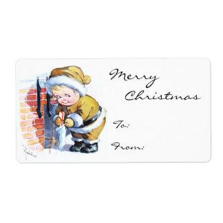 Santas Elf Filling Stockings Label