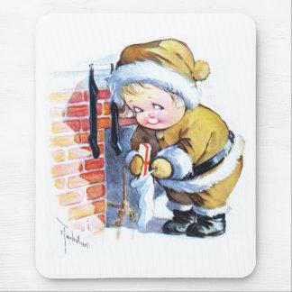 Santas Elf Filling Stockings Mouse Pad