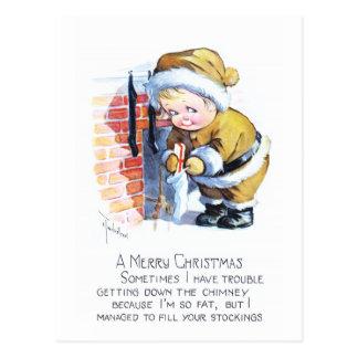 Santas Elf Filling Stockings Postcard