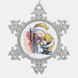 Santas Elf Filling Stockings Snowflake Pewter Christmas Ornament