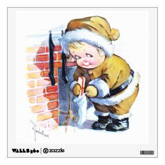 Santas Elf Filling Stockings Wall Decal
