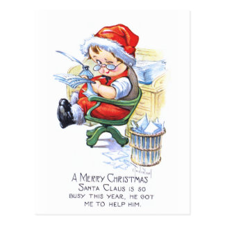 Santas Elf in Chair Postcard