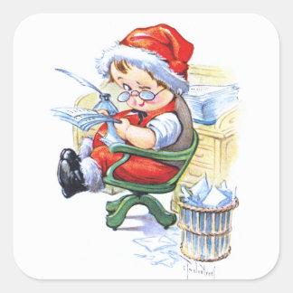 Santas Elf in Chair Square Sticker