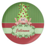 Santa's Elf Personalized Christmas Plate