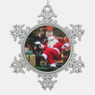 Santa's Elf - Santa in Peru Snowflake Pewter Christmas Ornament