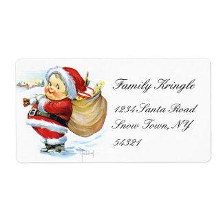 Santas Elf with Toys Label