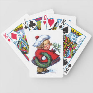 Santas Elf with Wreath Bicycle Playing Cards