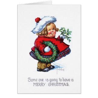 Santas Elf with Wreath Card