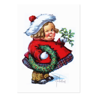 Santas Elf with Wreath Large Business Card