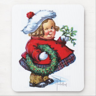 Santas Elf with Wreath Mouse Pad