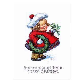 Santas Elf with Wreath Postcard