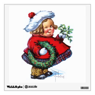 Santas Elf with Wreath Wall Sticker
