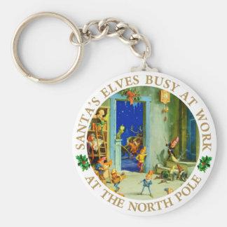 Santa's Elves at His North Pole Workshop Keychain