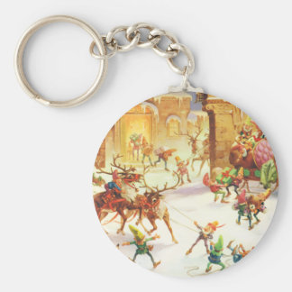 Santa's Elves at the North Pole Keychain
